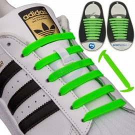 16 PIECES OF ELASTIC LACES FOR SPORTS SHOES - GREEN NEON